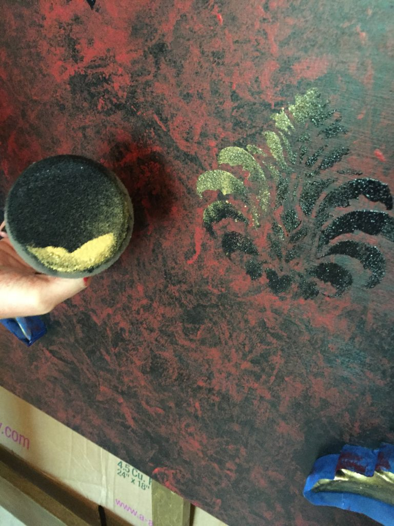 Gold Pirate Bed Damask Stencil | Tracey's Fancy