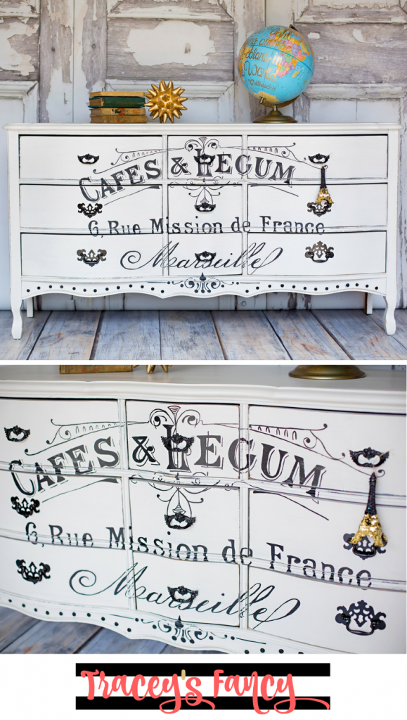 How to add Furniture Graphics, French Stenciled Furniture and Painted Dresser Ideas | Tracey's Fancy