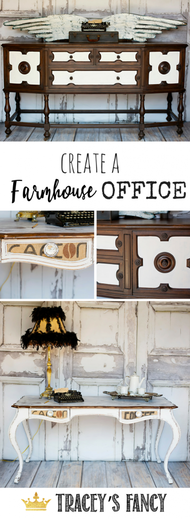 How to Create a Farmhouse Office with white painted furniture by Tracey's Fancy | White and Wood Grain Furniture | Desk Ideas | Home Office Ideas