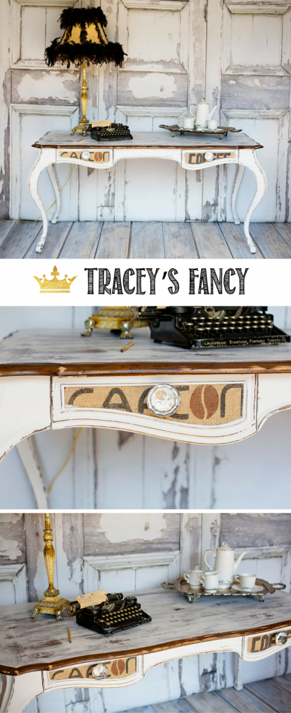 Lovely Decoupaged Desk for a home office - Here's how Tracey's Fancy designed a Farmhouse Office using white distressed painted desk