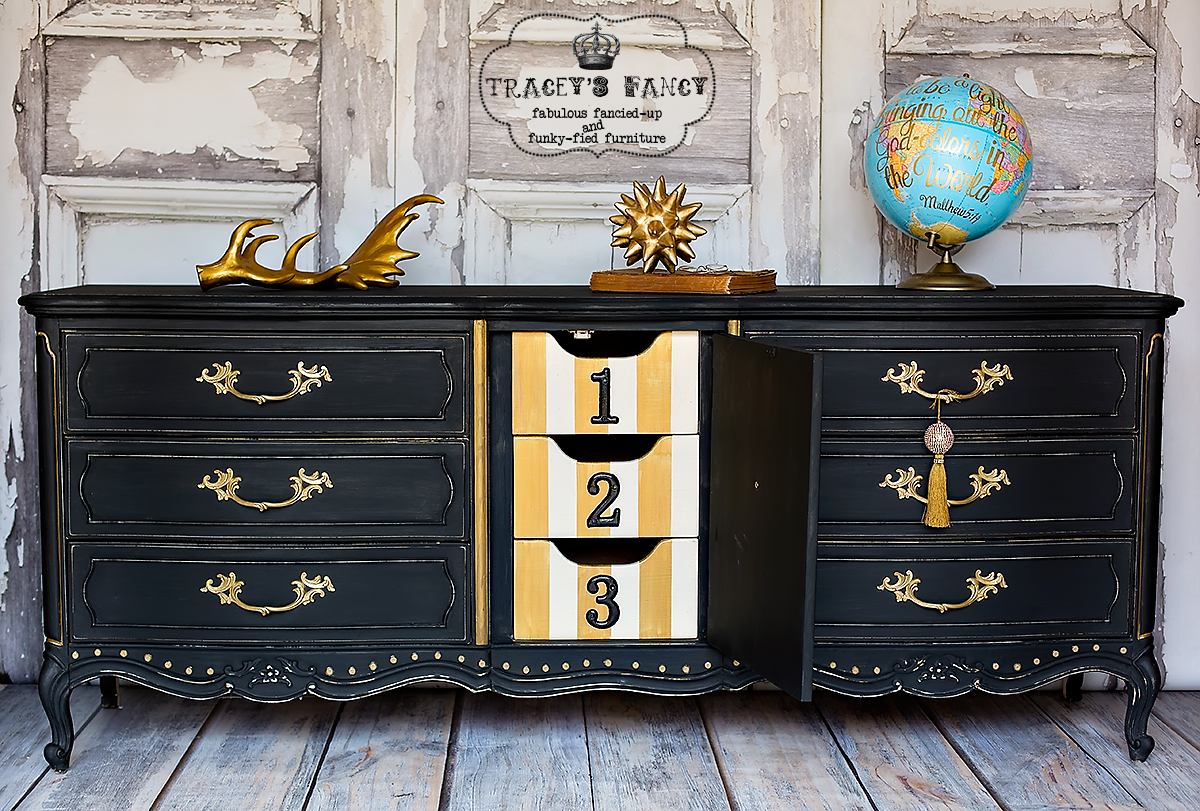 Painted Black Dresser with fun inside yellow drawers| Tracey's Fancy