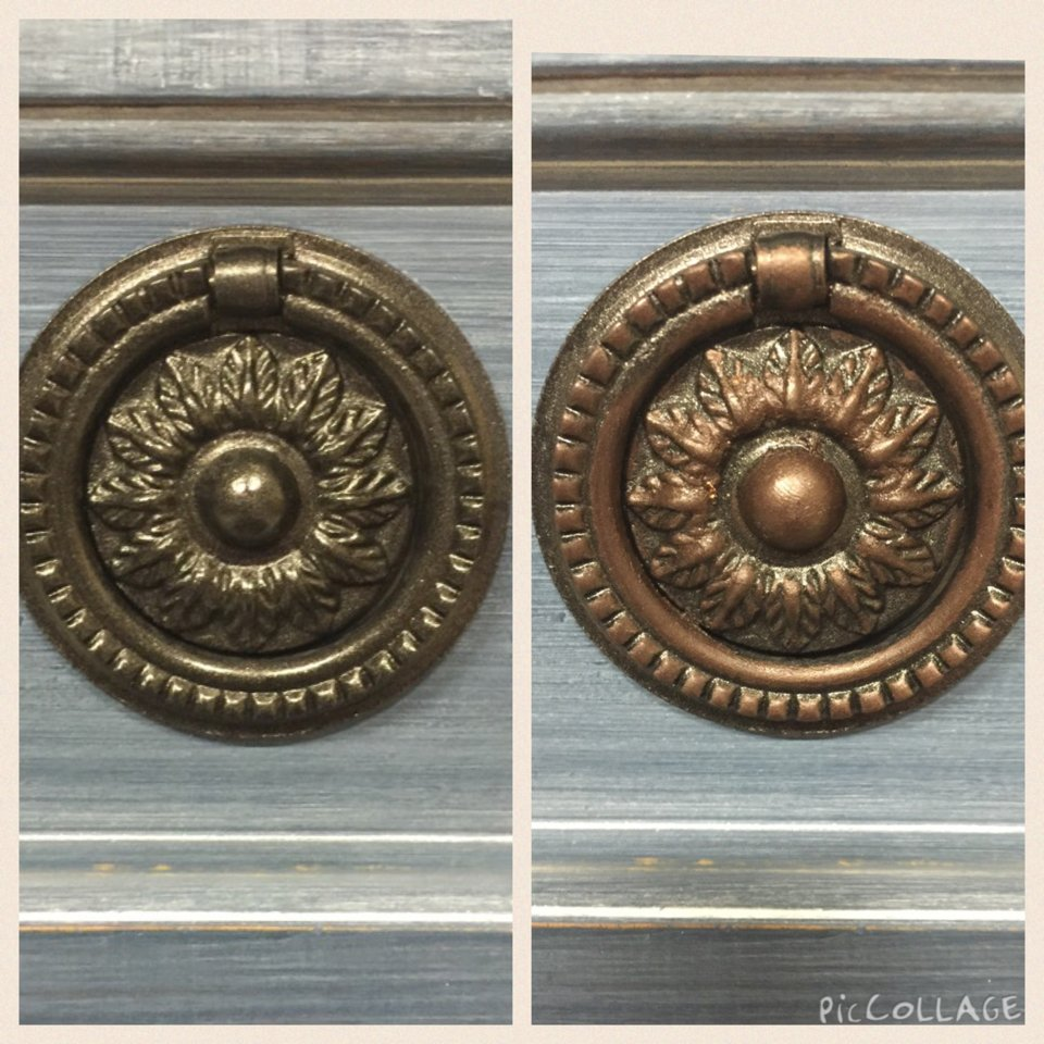White Lime Spray Wax Tutorial with Metallic Hardware Before and AFter | Tracey's Fancy