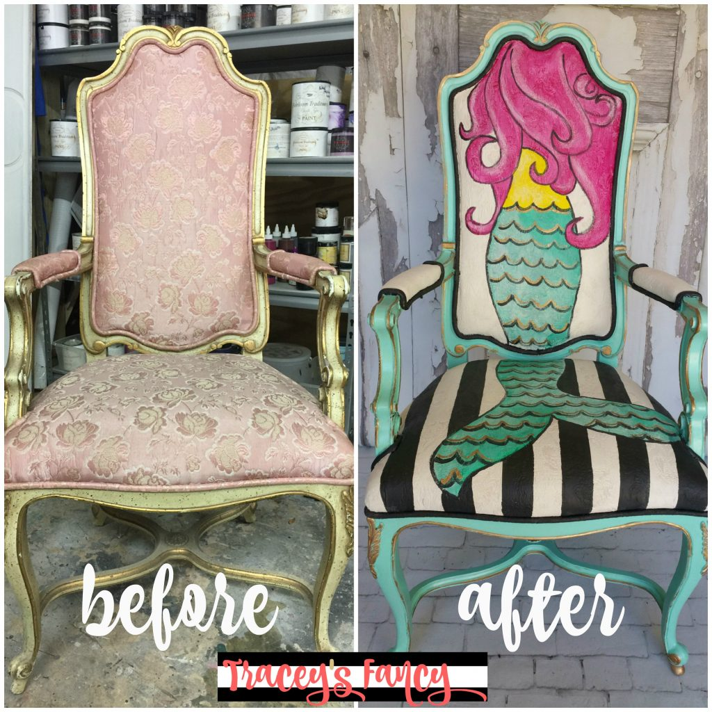 Mermaid Chair Before & After   Tracey's Fancy