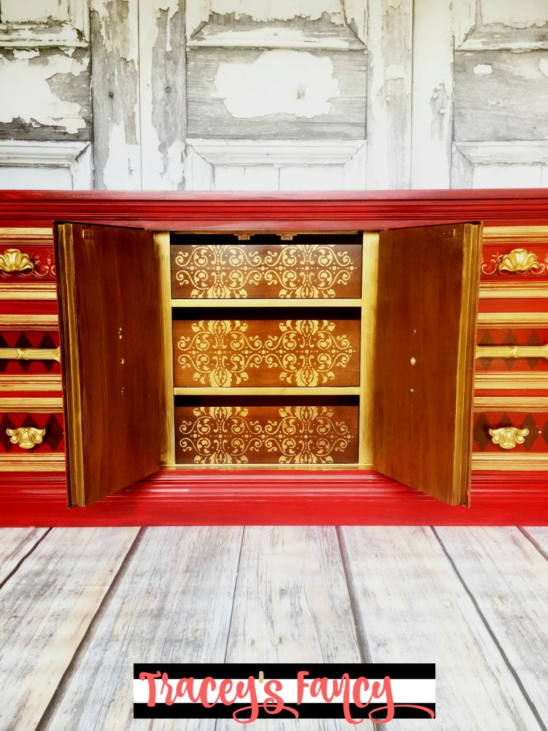 Stenciled Royal Red and Gold Dresser | Tracey's Fancy