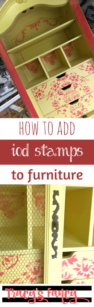 How to add IOD Stamps to Furniture | Furniture Makeovers | Yellow Armoire | Furniture Stencils & Stamps | Furniture Painting Tips by Tracey's Fancy