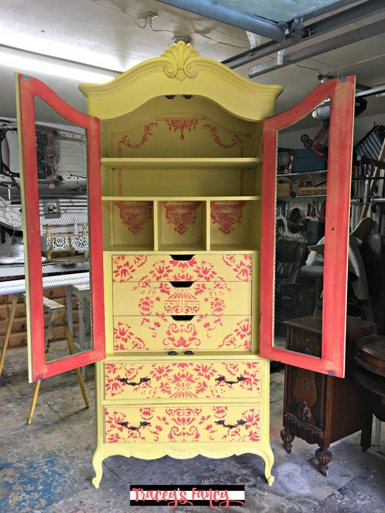 Painted Yellow Armoire | Tracey's Fancy