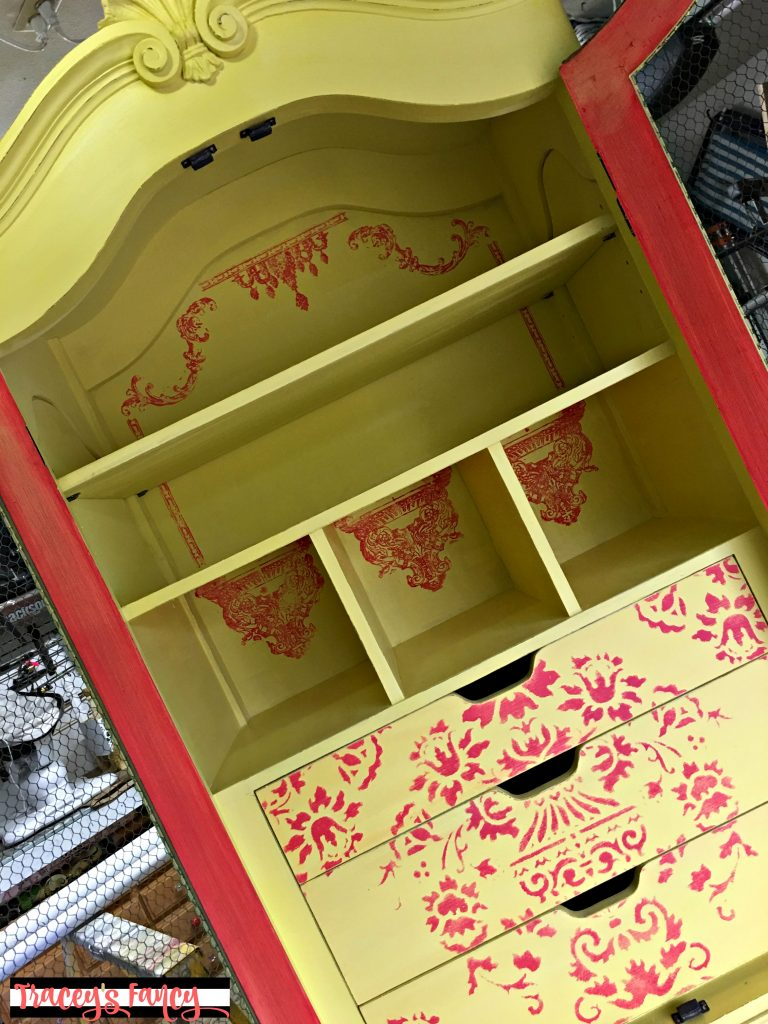 Yellow Armoire with Furniture Stamps