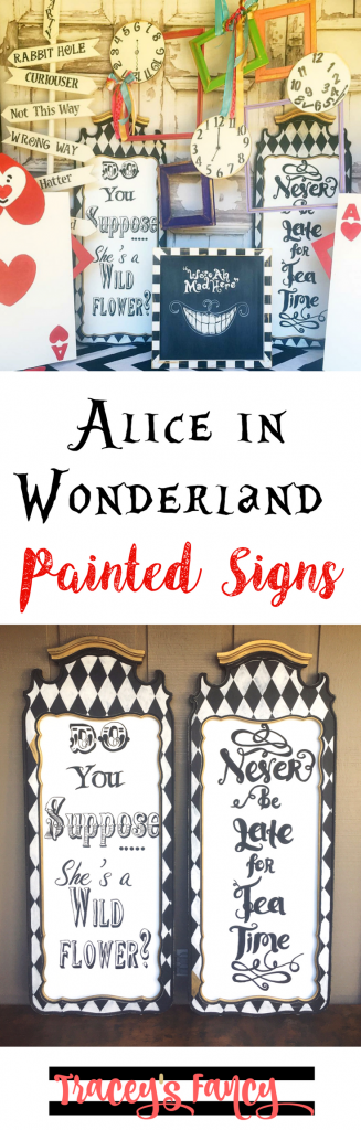 Alice in Wonderland Painted Signs | Wall Decor Ideas | DIY Party Sign Ideas | Painting tips by Tracey's Fancy