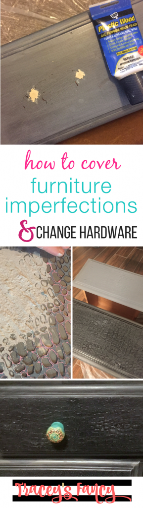 How to change hardware and cover furniture imperfections   How to add a raised stencil & croc Finish   Furniture Painting Tips by Tracey's Fancy