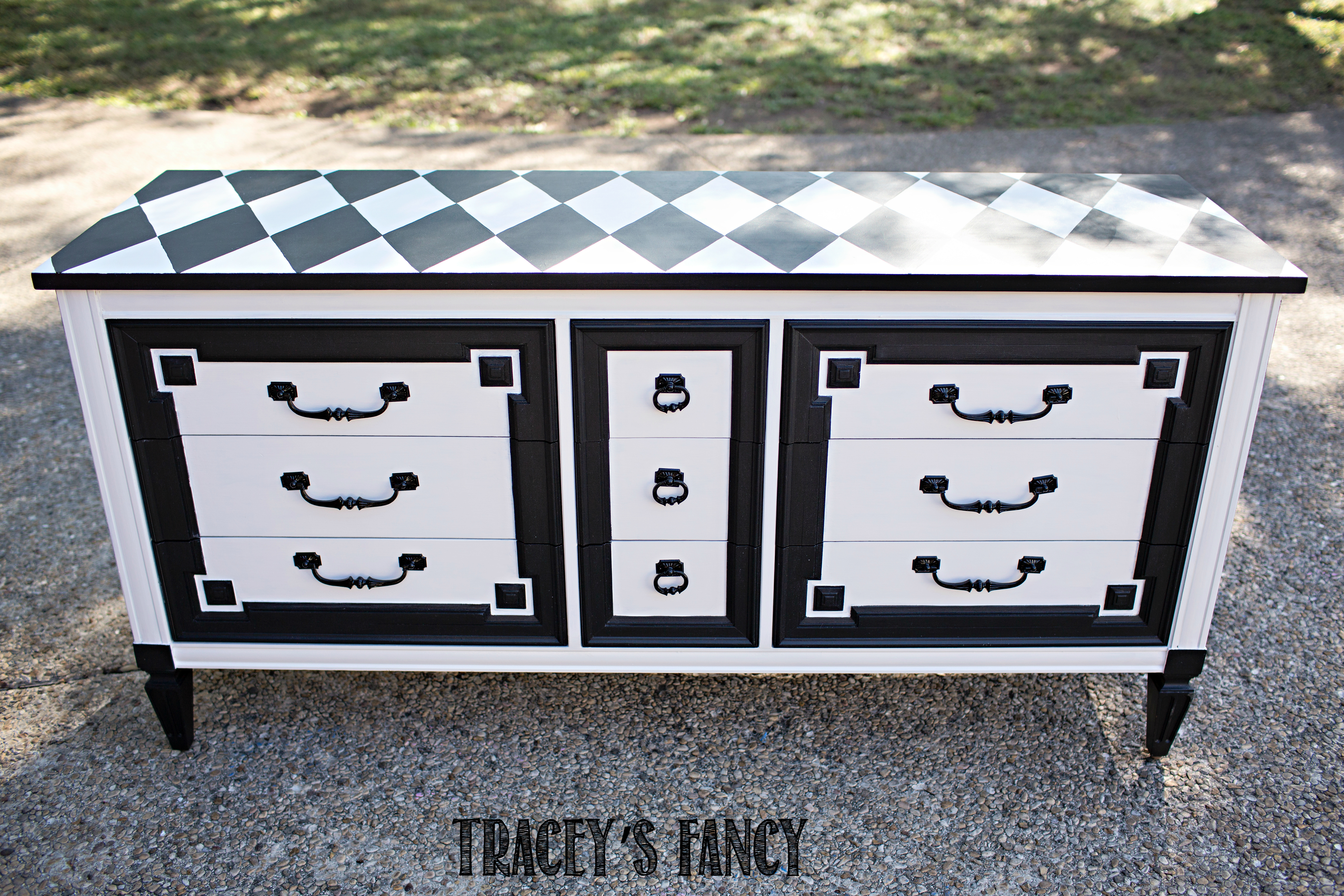 Black and White Dresser Harlequin Furniture by Traceys Fancy