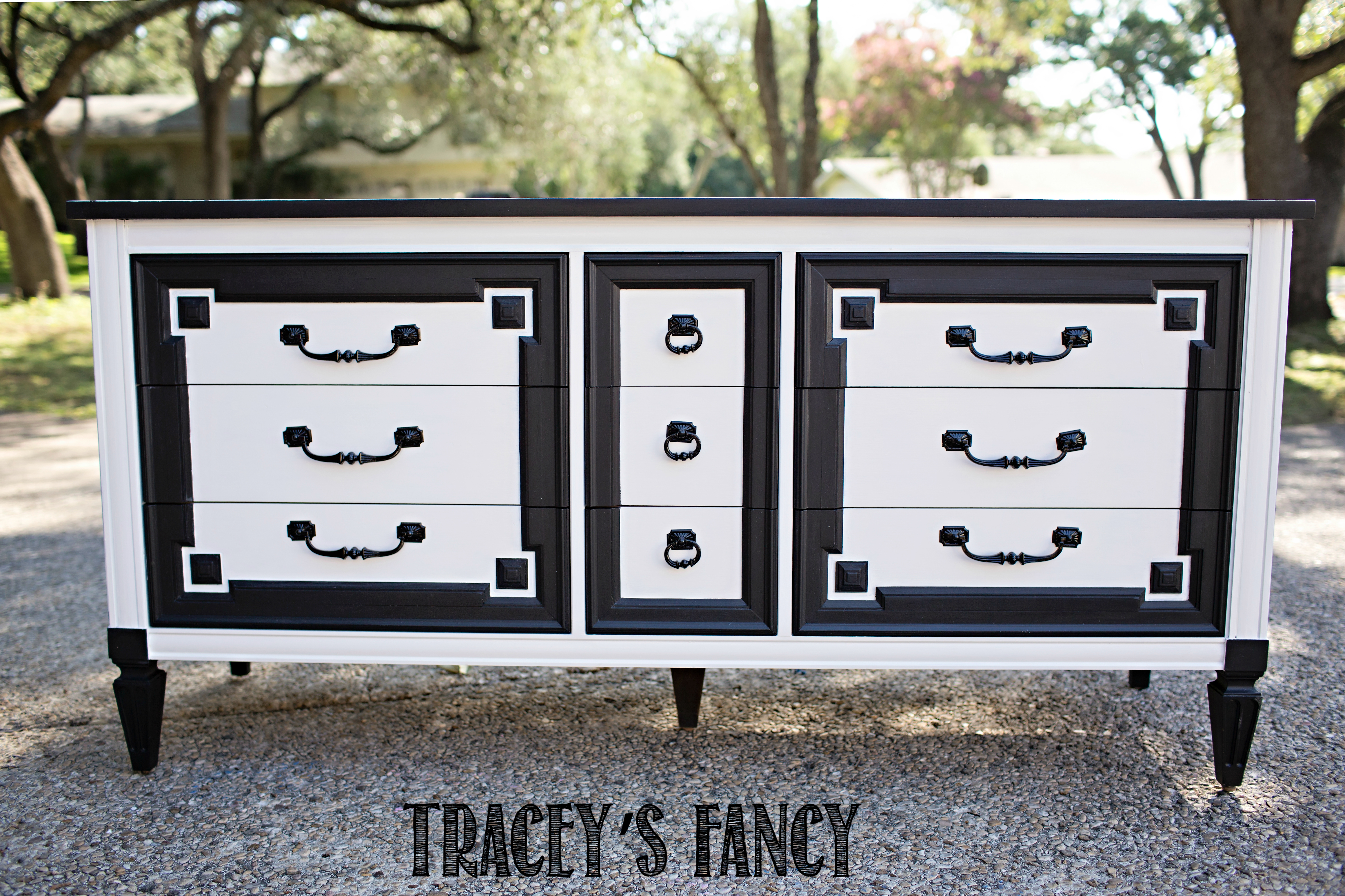 Black and White Dresser with Harlequin Furniture by Traceys Fancy