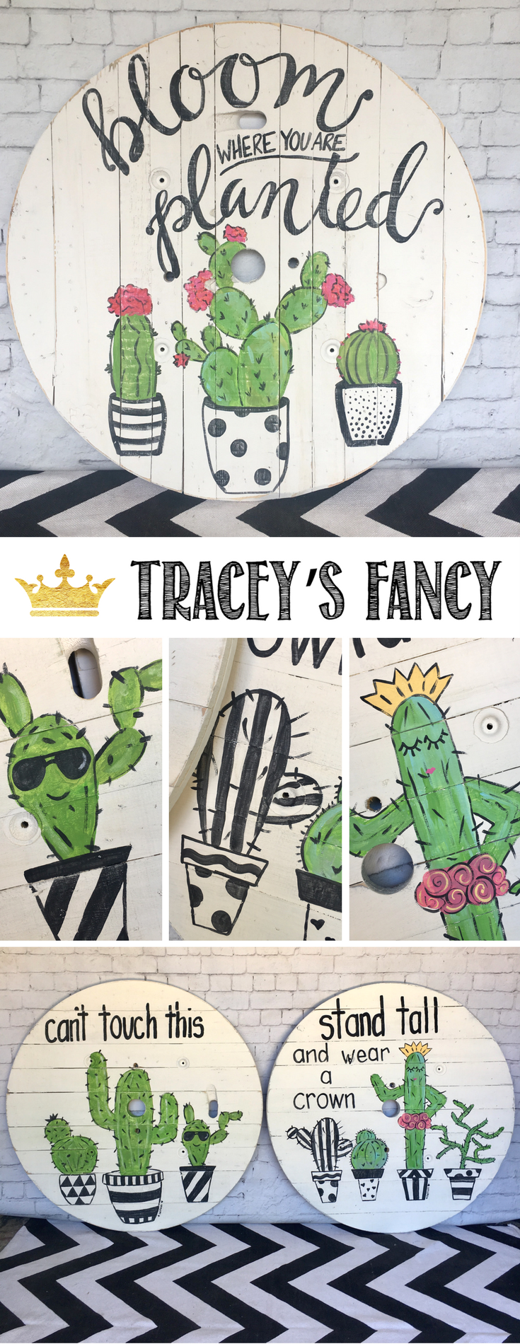 Funky Cactus Spool Art Handpainted by Tracey's Fancy | Upcycled Cable Spool Art | Black and White and Whimsical Decor | Nursery Decor Ideas | Nursery Art |