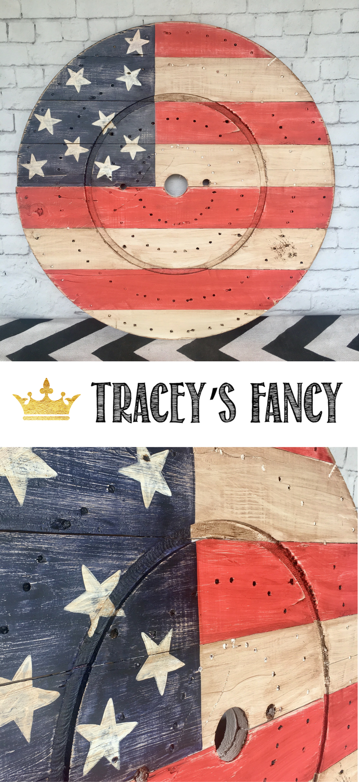 July 4 Decor Ideas by Tracey's Fancy- Patriotic Decor - Upcycled Projects. Flag Art from a repurposed cable spool | Stars and Stripes Flag Art