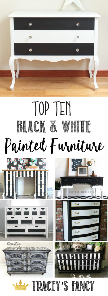 A Gorgeous Collection Black and White Furniture Ideas by Tracey's Fancy | Painted Furniture & Furniture Painting Ideas