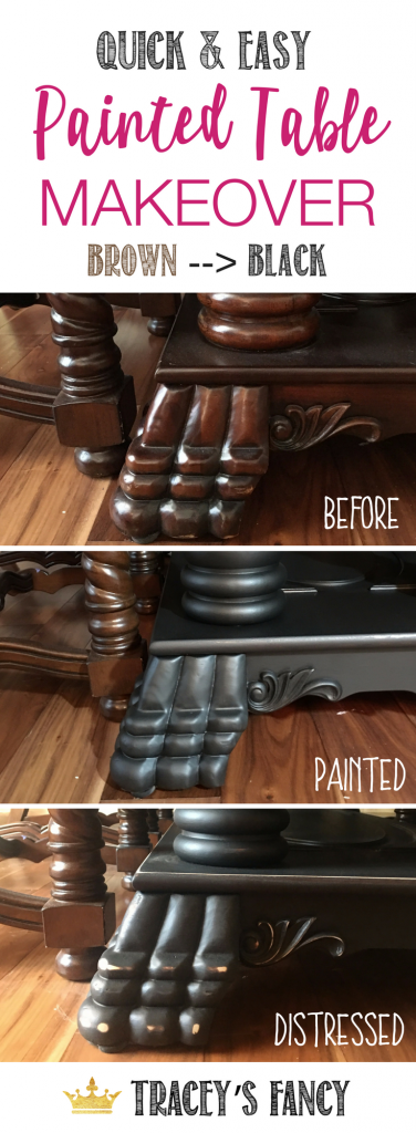 Here's the quick & easy way to paint a table! Tracey's Fancy goes from brown to black dining room table with Heritage Collection All-in-One Paint