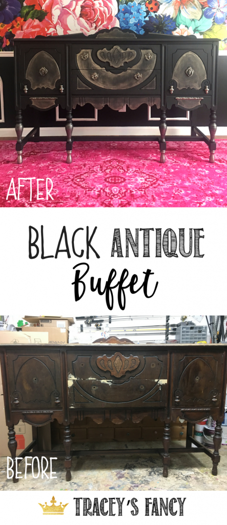 This is the FASTEST & EASIEST way to paint furniture | See this Transformation of a Black Painted Buffet by Tracey's Fancy | How to Paint Furniture | Painted Furniture Ideas | Black Buffet |