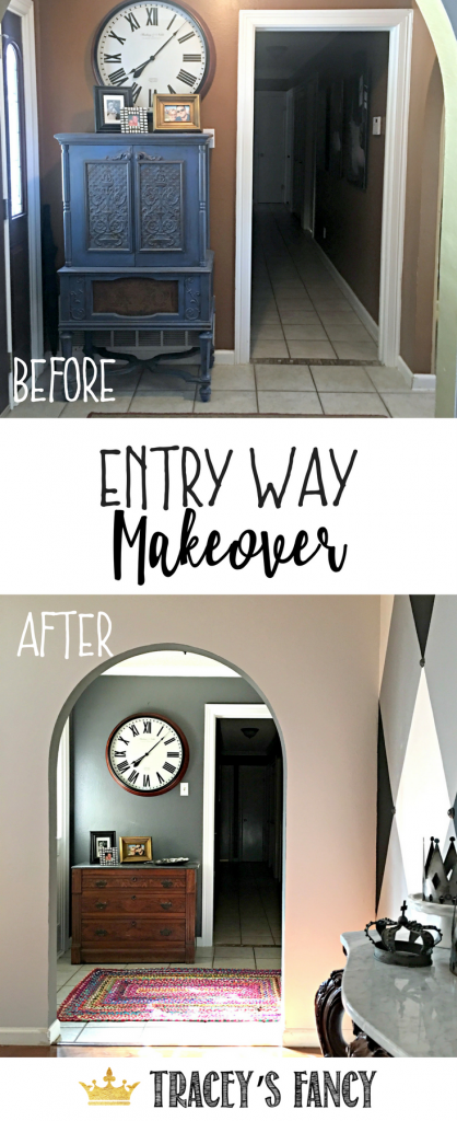 Entry Way Makeover by Tracey's Fancy - Painting the inside of the Front Door - Foyer Makeover - Foyer Design Tips