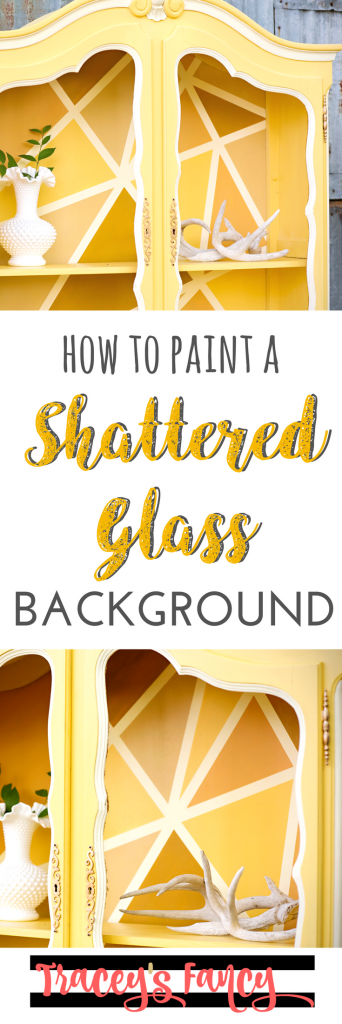 How to Painted a Shattered Glass Pattern Background on Furniture by Tracey's Fancy
