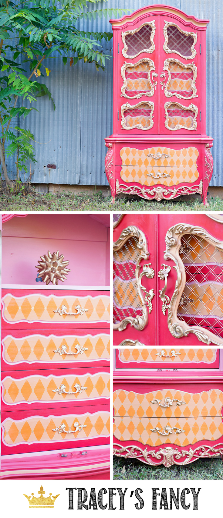 Whimsical Armoire by Tracey's Fancy _ Painted Furniture Ideas _ Neutral Furniture Ideas _ #furnituremakeover #whimsical