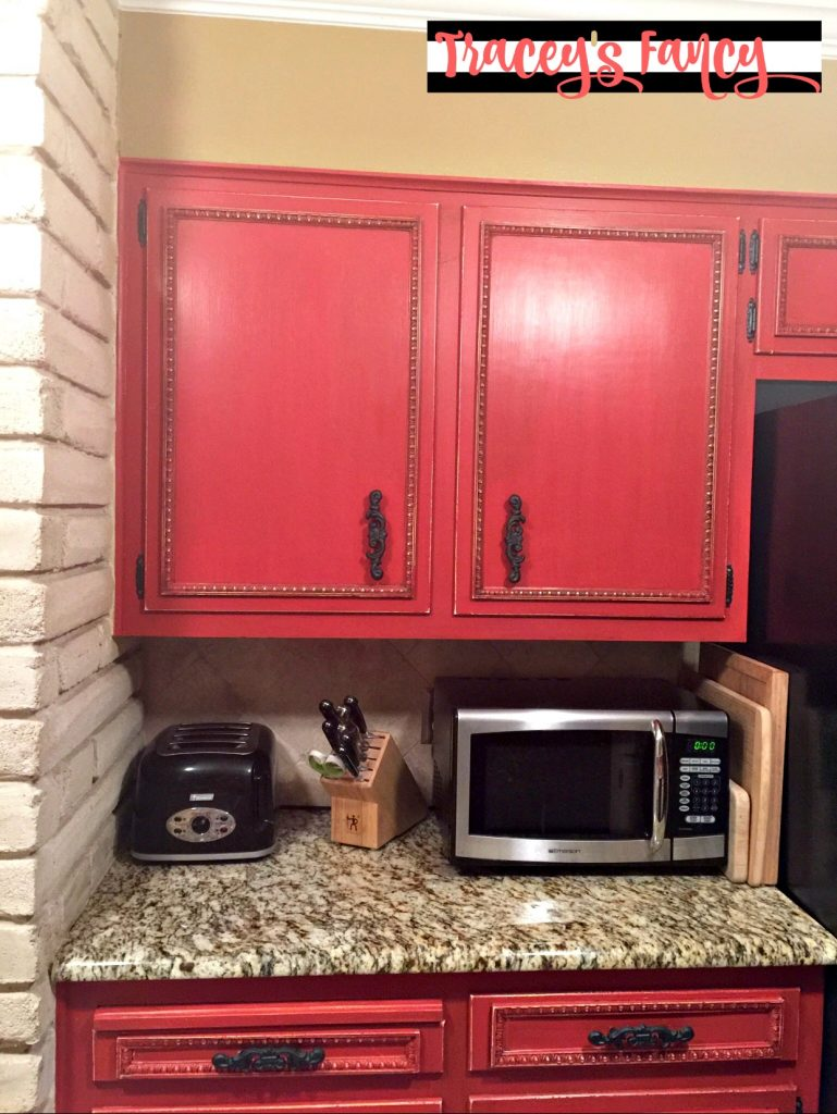 Diy painted red cabinets in the kitchen tracey39s fancy for What kind of paint to use on kitchen cabinets for jungle nursery wall art