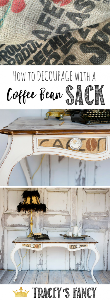 How to Decoupage Furniture Drawers with a Coffee Bean Sack - Cute home Office Desk by Tracey's Fancy - Farmhouse Desk with Decoupaged Drawers | Repurposing a Coffee Bean Sack for furniture