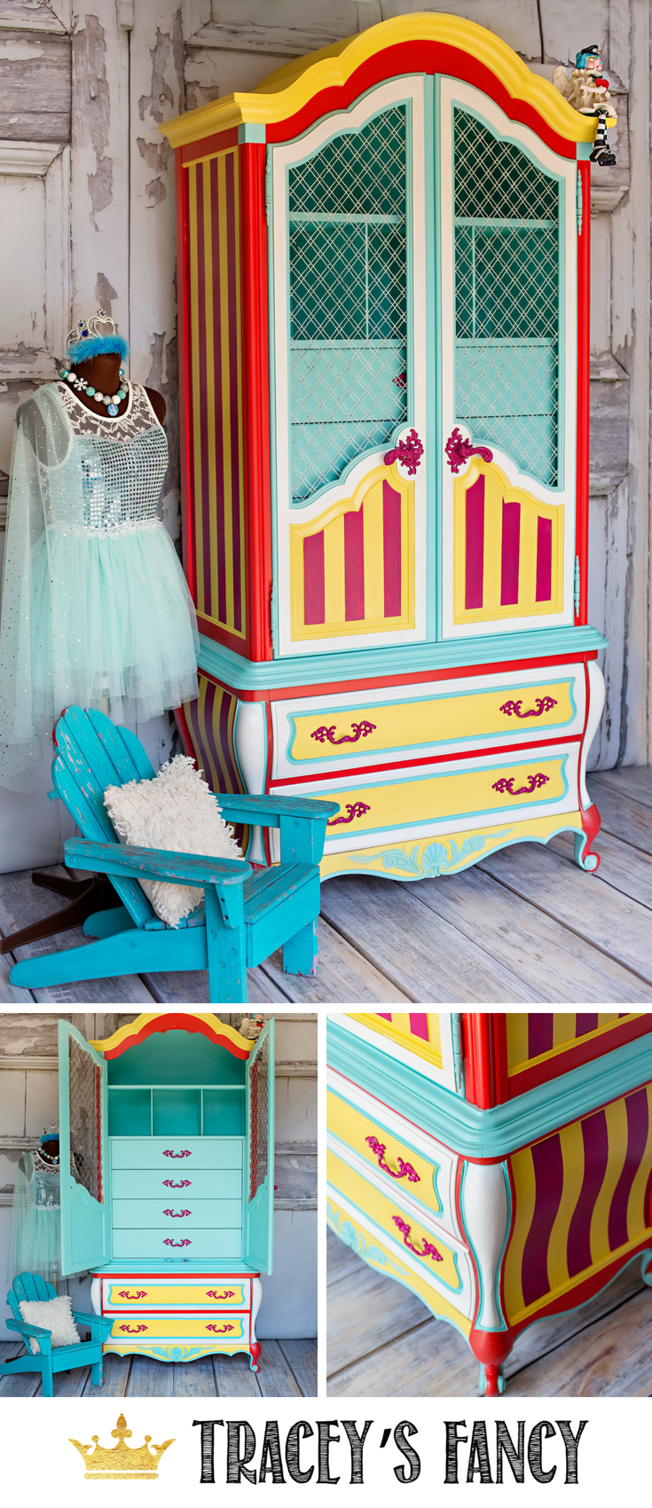 Circus Inspired Whimsical Armoire by Tracey's Fancy _ Painted Furniture Ideas _ Colorful Furniture Ideas _ #furnituremakeover #whimsical #circus