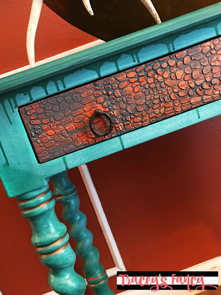 Rustic Glam Crocodile Finish Table   Tracey's Fancy