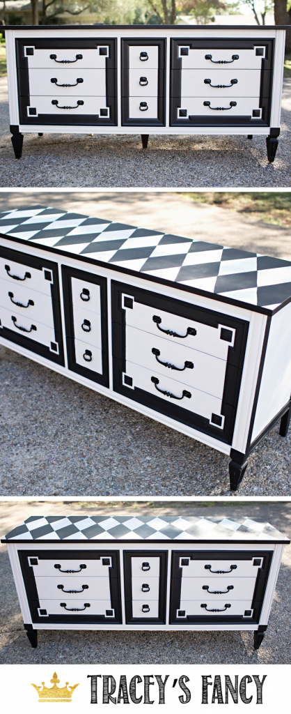 This dresser is the perfect pairing with a straight-laced geometric front and a whimsical patterned top. This harlequin furniture was painted by Tracey's Fancy. See more furniture transformations and painted furniture ideas at traceysfancy.com