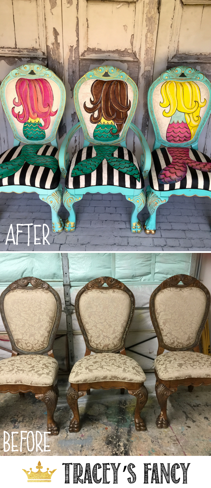 Who loves mermaids!?! Tracey's Fancy paints these gorgeous, vibrant mermaid chairs on second hand upholstered and fabric chairs. | How to Paint Fabric Chairs