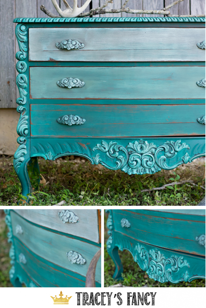 Farmhouse Teal Dresser with highlighted layered paint effect | Tracey's Fancy