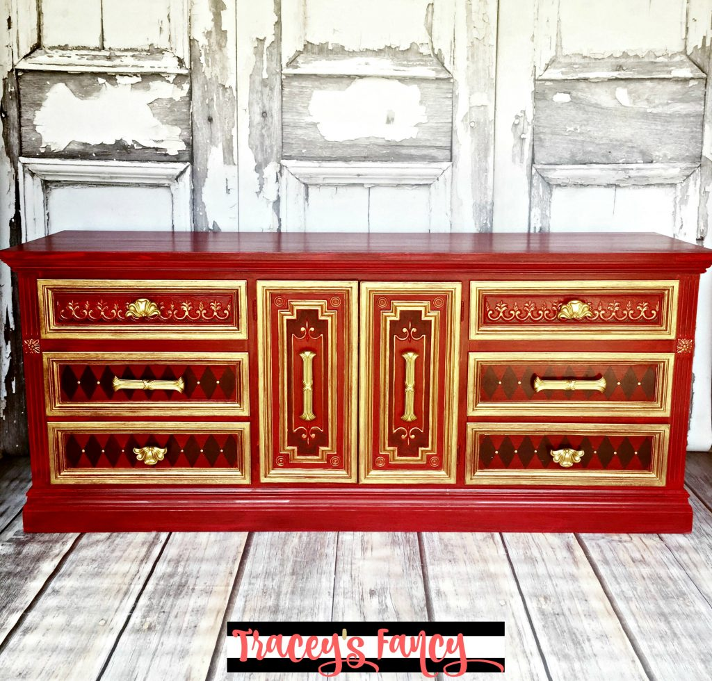Moroccan Red and Gold Dresser