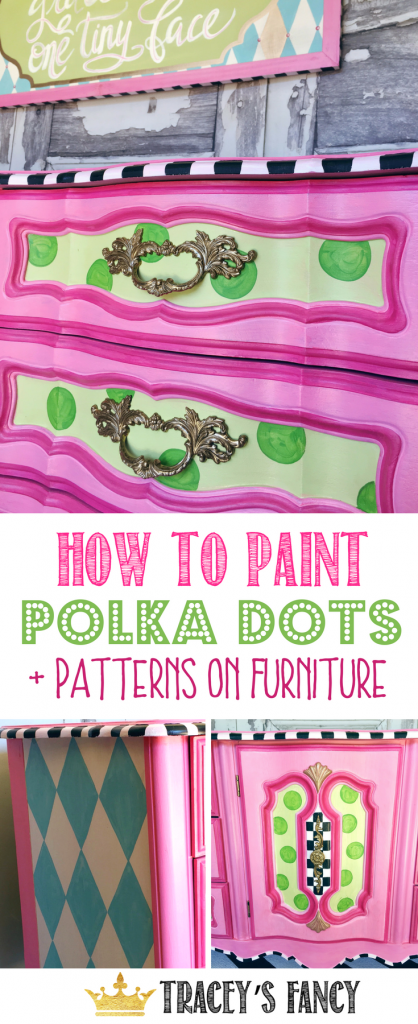 How to paint Polka Dots and Patterns on Furniture by TraceysFancy | How to Paint Patterned Furniture | Freehand Patterns #polkadots #paintedfurniture #howtopaintfurniture #painteddresser