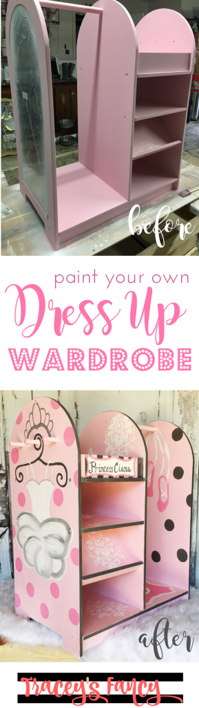Painted Dress Up Wardrobe | DIY Dress Up Storage | Personalized Dress Up Cart for Children's Rooms and Children's Playrooms | Painted Gift Ideas and Furniture Painting Tips by Tracey's Fancy