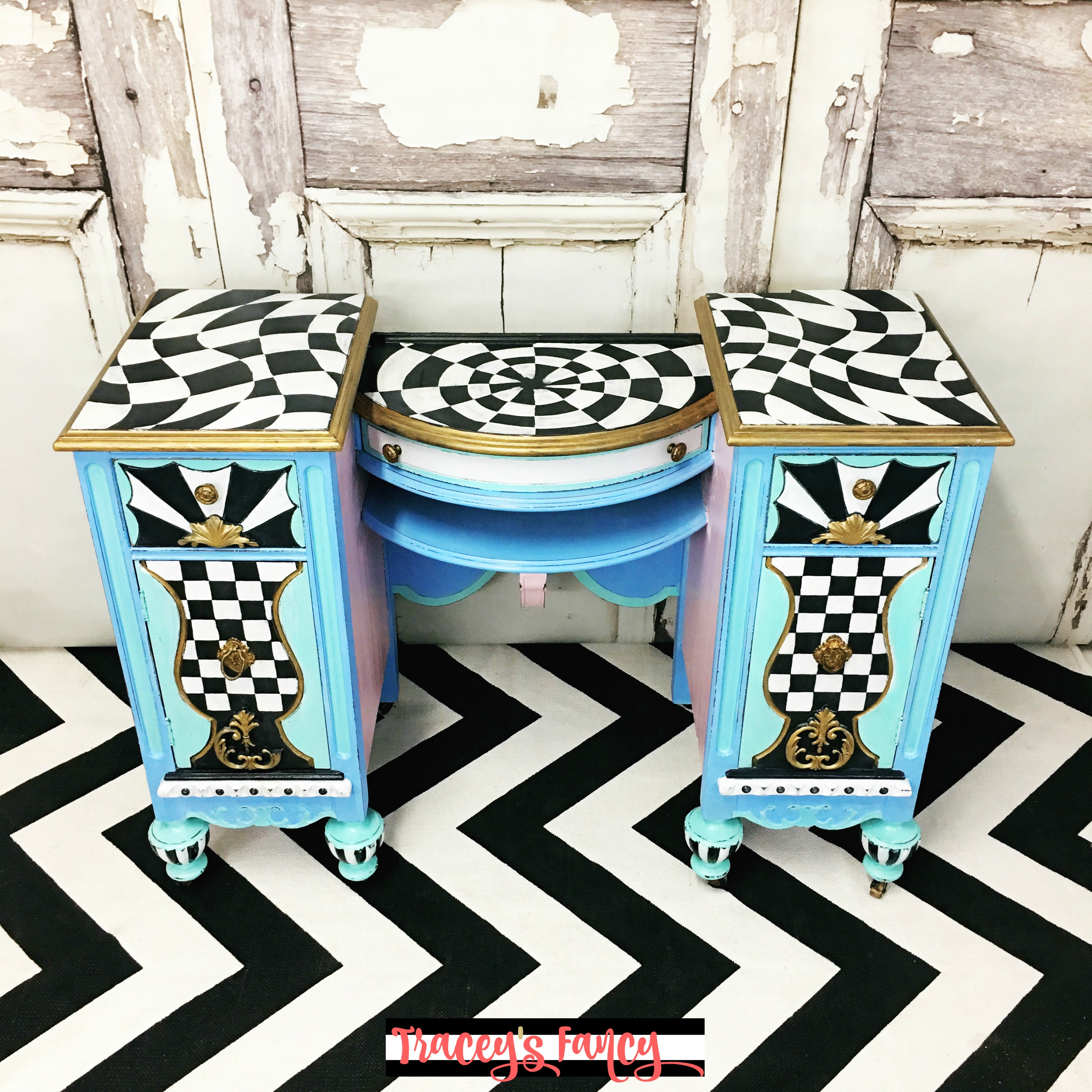 Beau Blue Painted Vanity | Traceyu0027s Fancy