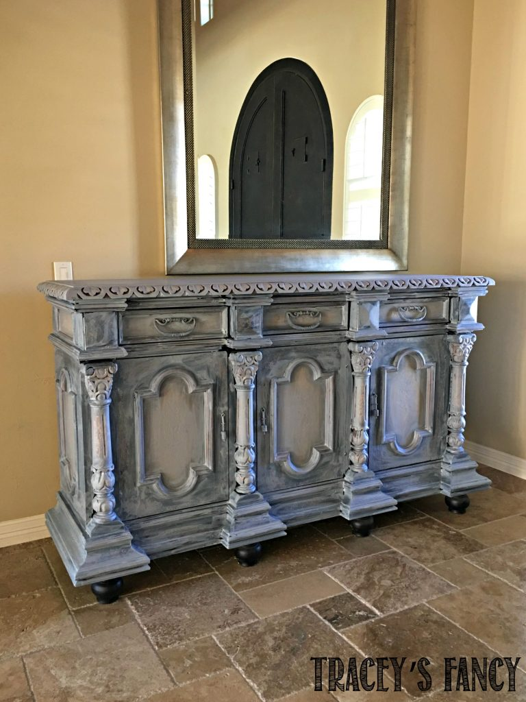 Heritage Collection All in One Chalk Style Paint Gray Entry Cabinet Traceys Fancy