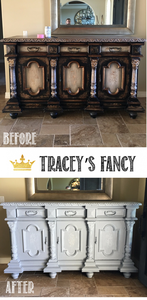 Gray Cabinet Transformation using All in One Paint Chalk Paint   Furniture Painting Tips by Traceys Fancy