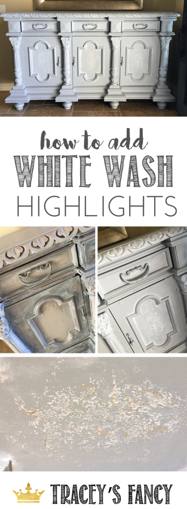 Furniture painting tips: How to add White Wash Highlights by TraceysFancy