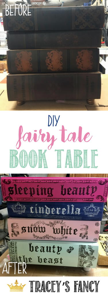 Fairy Tale Nursery End Table | Stacked Book Tables | Furniture Before & After | Nursery Room Decor Furniture Painting Tips by Tracey's Fancy