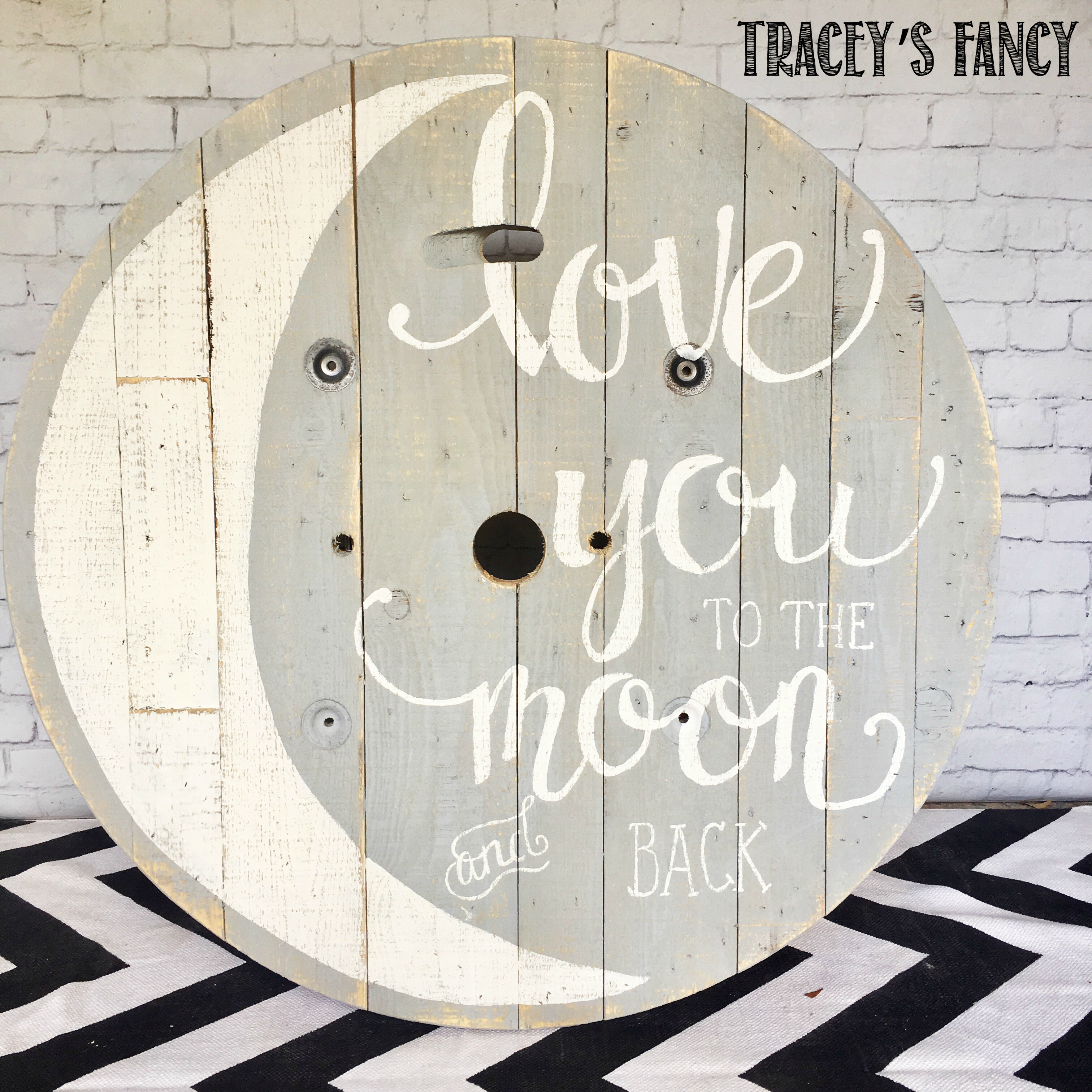 Upcycled & Painted Cable Spool Art for a Nursery   Tracey\'s Fancy