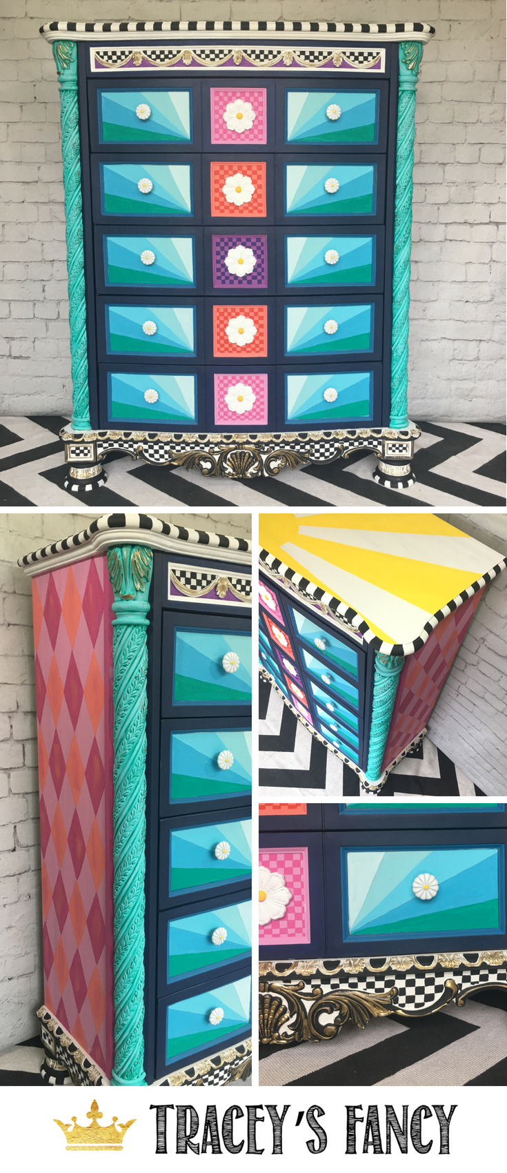 Whimsical Dresser by Tracey's Fancy Painted Furniture Ideas Colorful Furniture Ideas #furnituremakeover #whimsical #furnituredesign #furniture