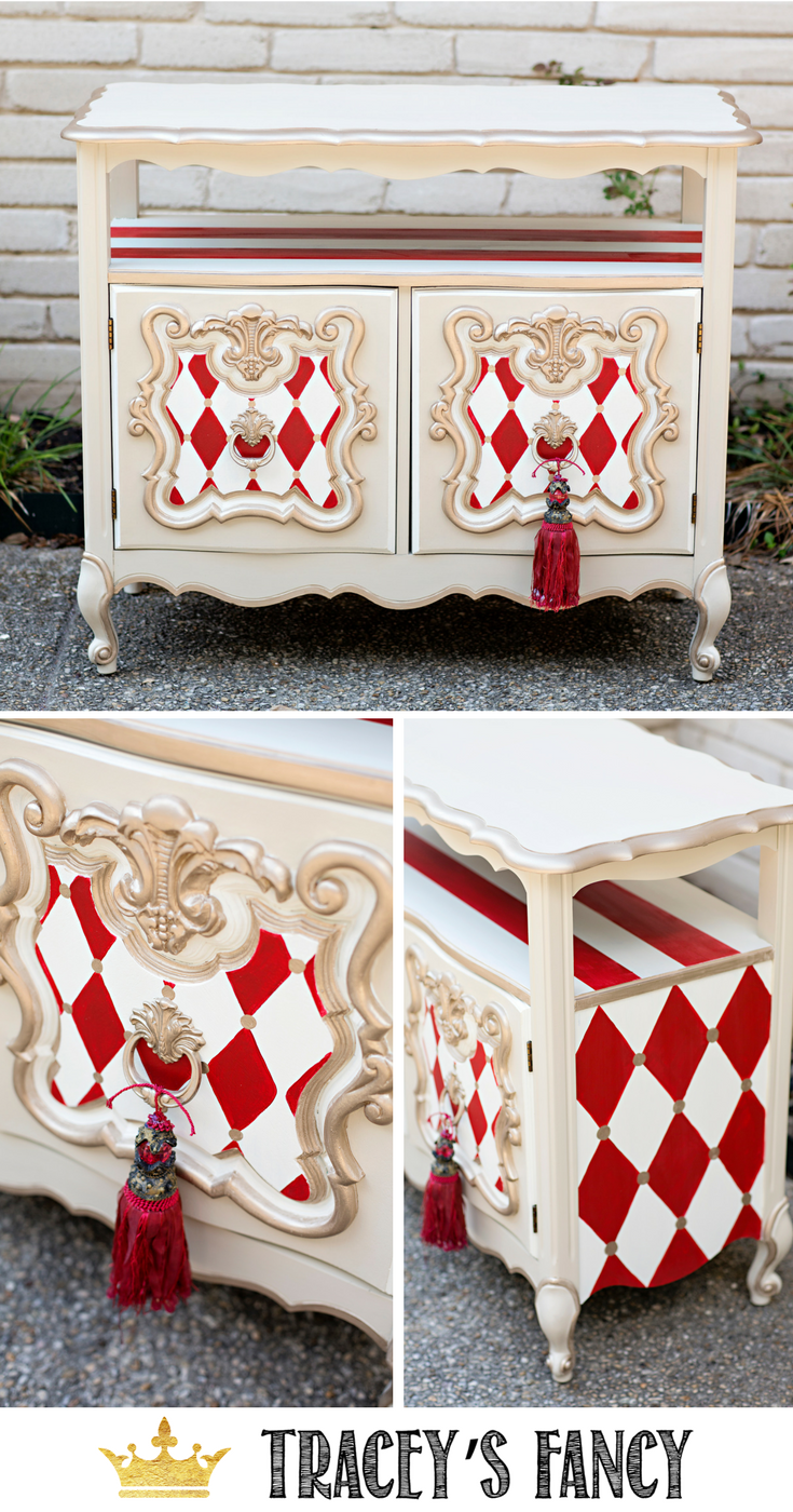 Delicieux Whimsical Furniture   Red And White Harlequin Traceyu0027s Fancy #furniture  #furnituremakeover