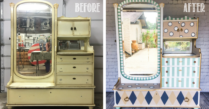 Whimsical Carousel-inspired Old World Vanity Dresser by Tracey's Fancy