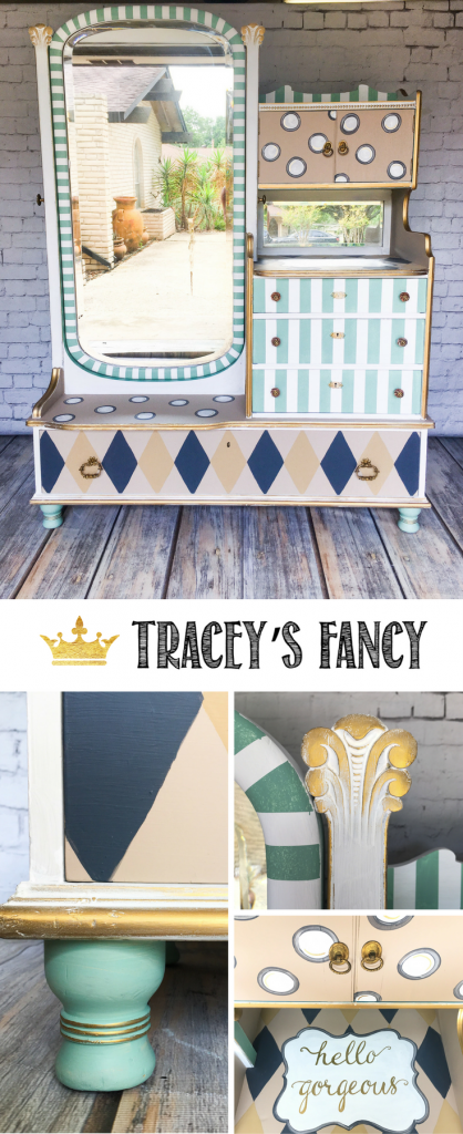 Antique Gentlemans Dresser turned Whimsical Carousel Vanity Dresser by Tracey's Fancy
