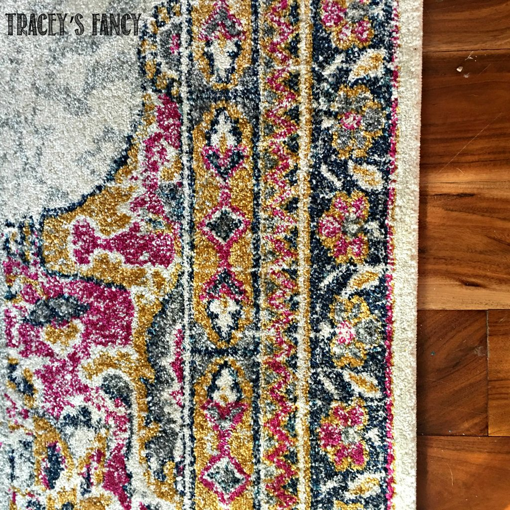 Tracey's Fancy Dining Room Table Makeover with Colorful Dining Room Rug