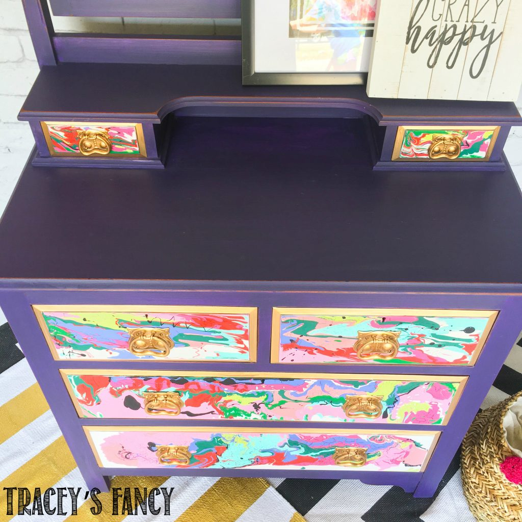 Furniture Pour Painting - Purple Passion Dresser by Tracey's Fancy