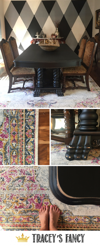 Colorful Dining Room Rug Ideas - Tracey's Fancy painted her dining room from browns to blacks, updated her harlequin feature wall and added a new Vintage Sunny Wildflower rug!