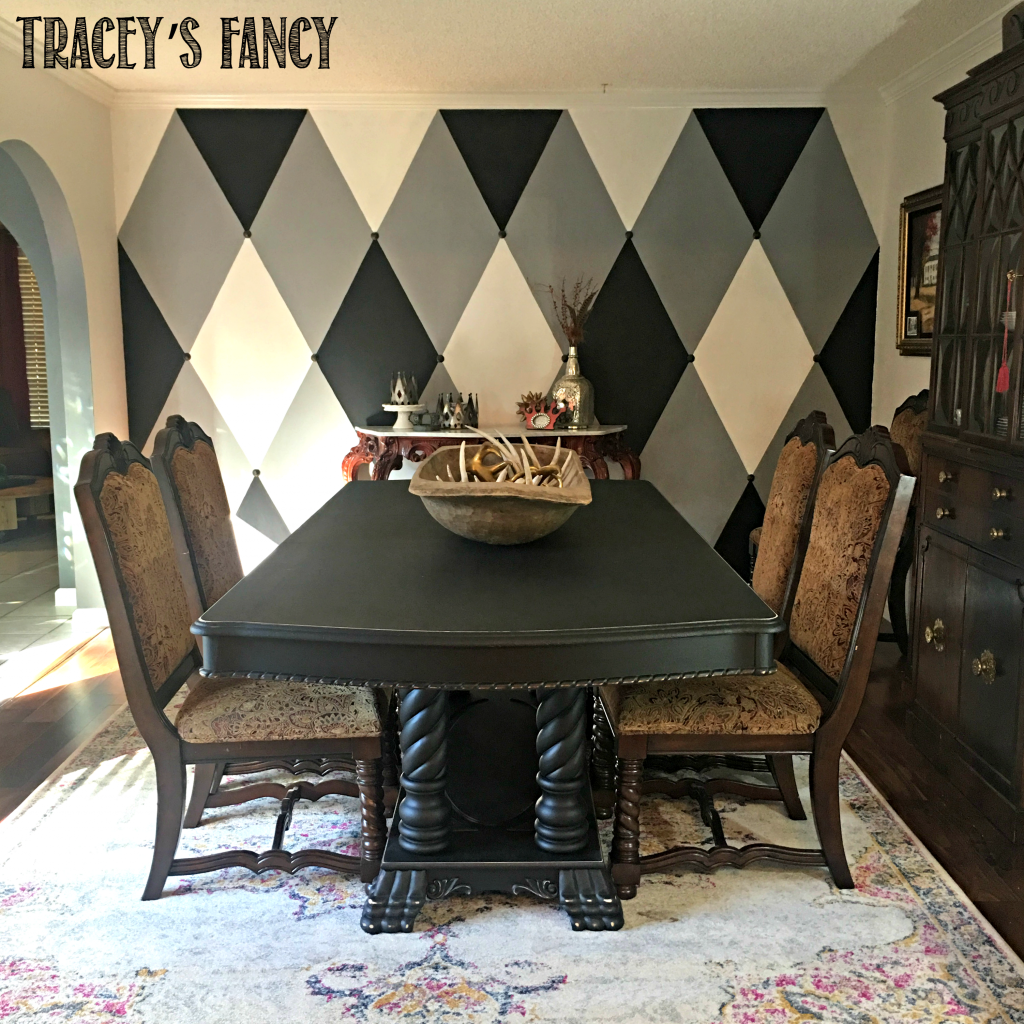 Tracey's Fancy Dining Room Makeover After with Rug