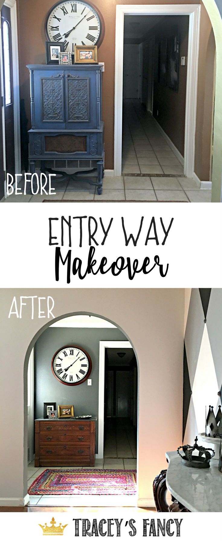 Entry Way Makeover by Traceyu0027s Fancy - Painting the inside of the Front Door - Foyer & Entry Way Makeover by Traceyu0027s Fancy - Painting the inside of the ...