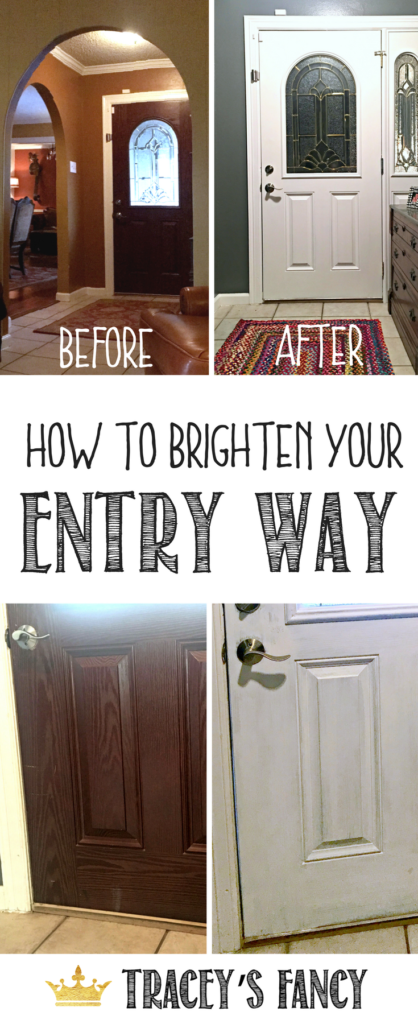 Entry Way Makeover by Tracey's Fancy - Painting the inside of the Front Door - Foyer Makeover - Foyer Design Tips | White Foyer Door