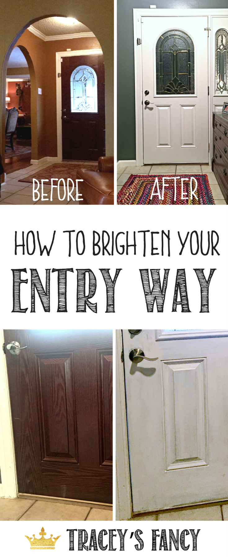 A Painted Inside Front Door Creates A Gorgeous And EASY Entry Way Makeover  By Traceyu0027s Fancy U2013 Painting The Inside Of The Front Door ...